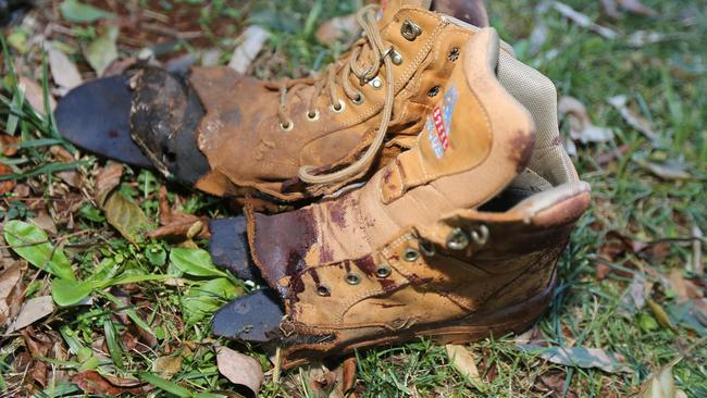 The blood-stained shoes after a stump grinding accident at Mount Tamborine. Pic: Mike Batterham