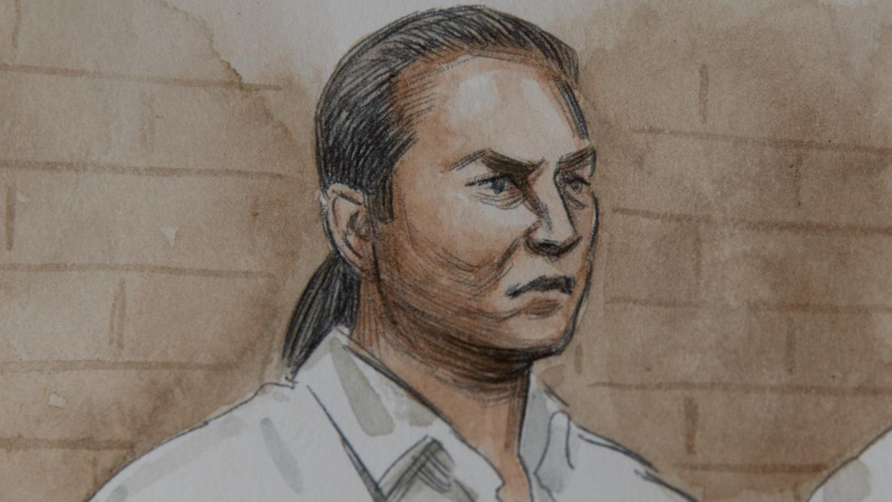 An artist's impression of Ben Cousins at the Armadale Magistrates Court on Wednesday. Picture: Supplied via NCA NewsWire