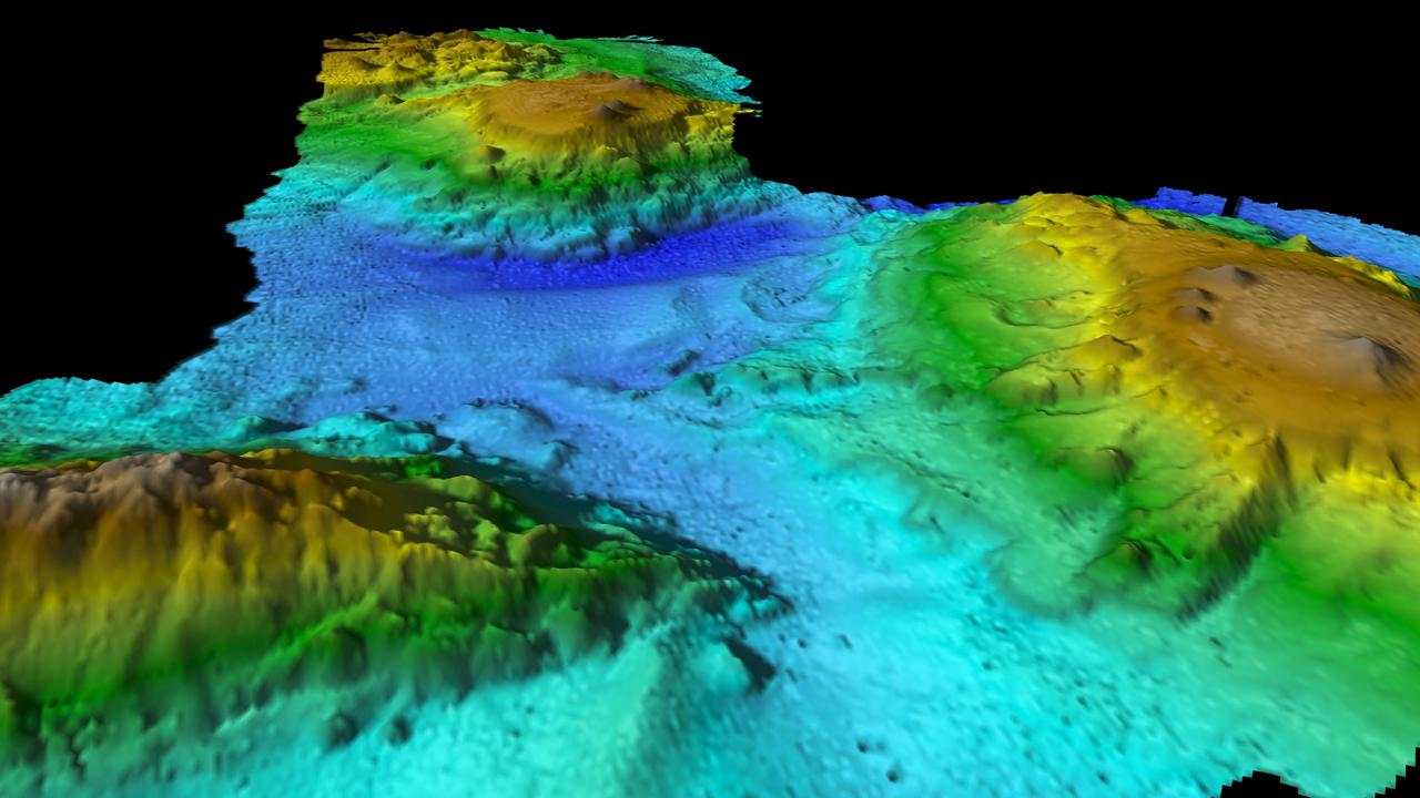 Mapping of the volcanic seamount chain found off the east coast of Tasmania by the CSIRO vessel Investigator. Picture: CSIRO