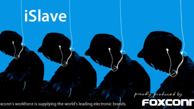 Foxconn was nominated for the 2011 Public Eye Award, which produced this image as part of its campaign to end labour exploitation. Picture: Greenpeace Switzerland