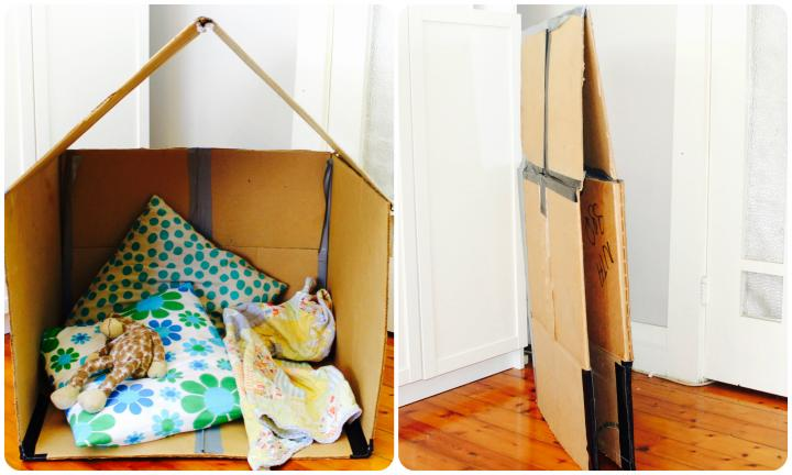 Collapsible cardboard cubby house