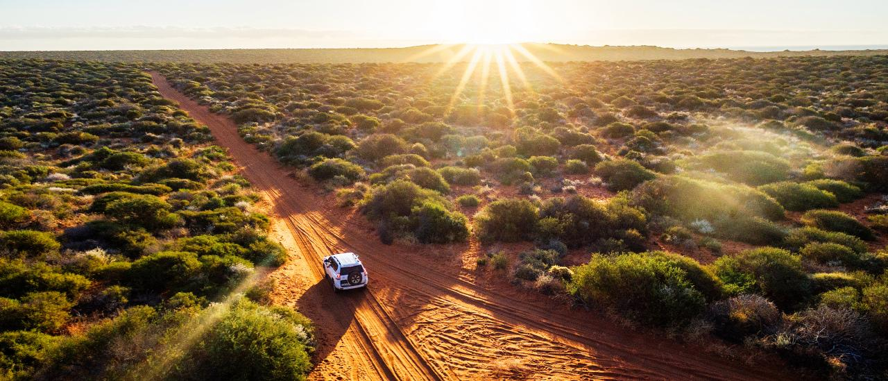 Driving off-road in Western Australia at sunset, aerial view. Francois Peron National Park. Picture: istock