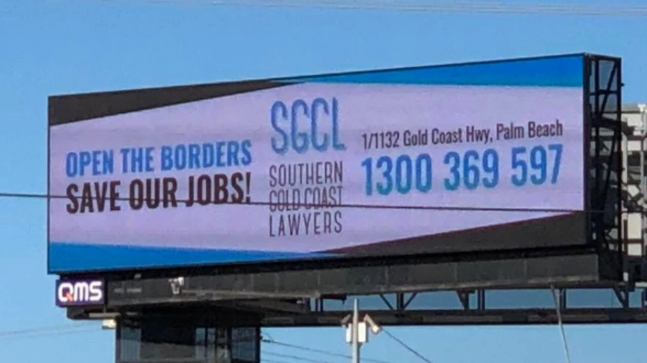 The new billboard to get the borders open.