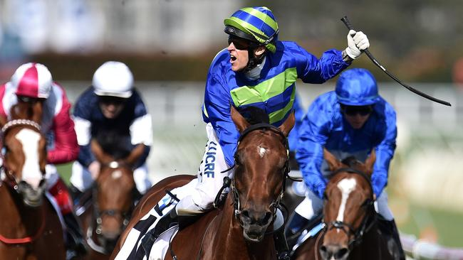 Nick Hall reacts as he rides Jameka to victory in the Caulfield Cup. Picture: AAP
