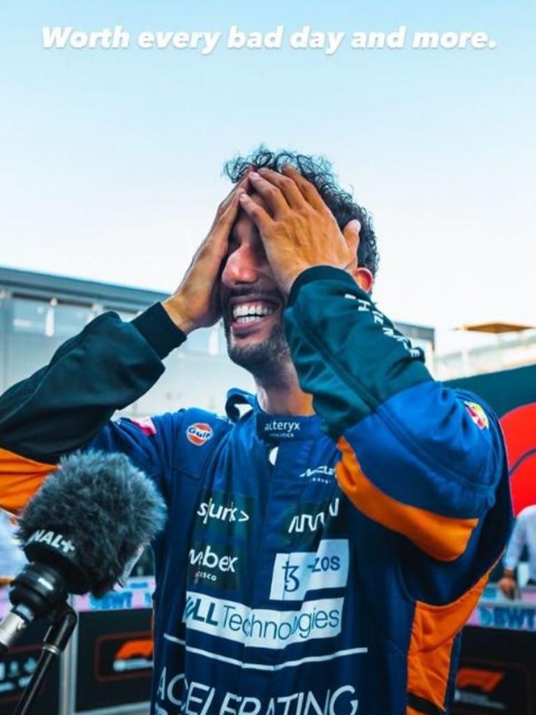 Ricciardo was overcome with emotion. Photo: Instagram.