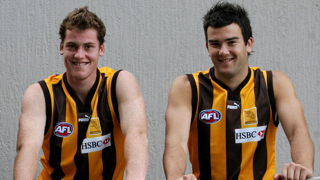 Jarryd Roughead and Jordan Lewis ahead of their first game for Hawthorn in 2005. Photo: Kelly Barnes