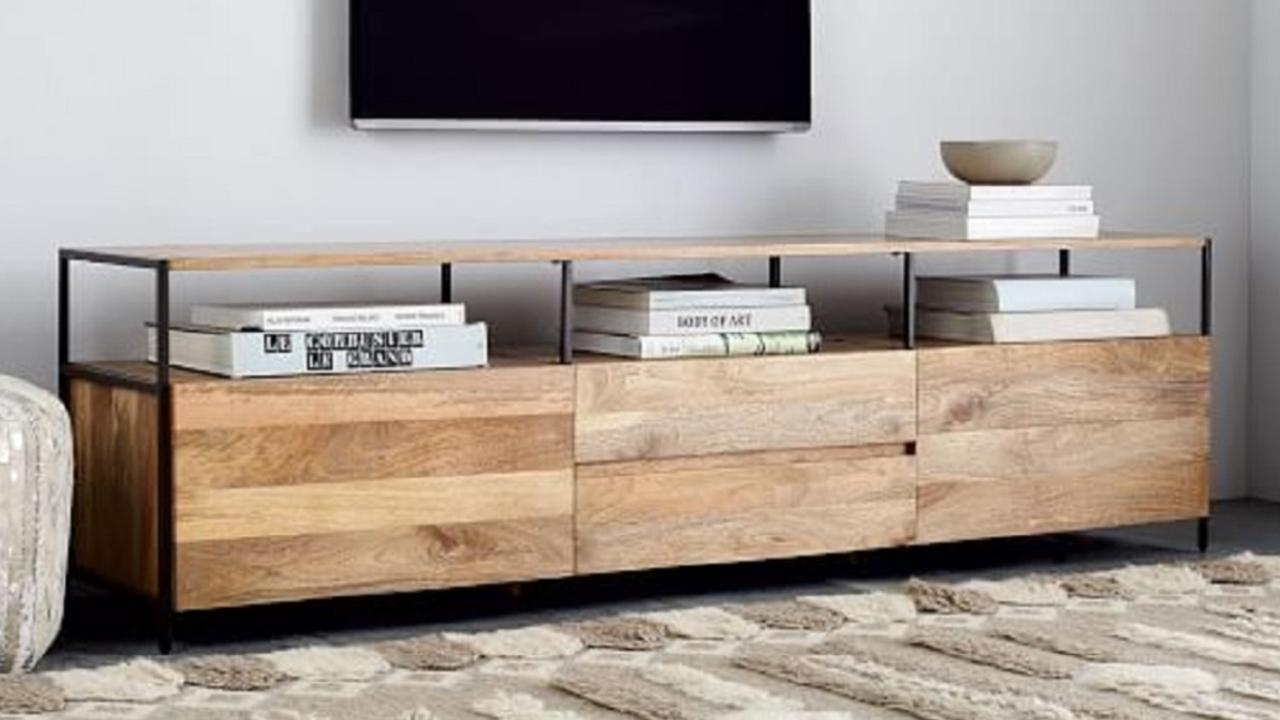 The industrial storage media console from West Elm is $1,839.