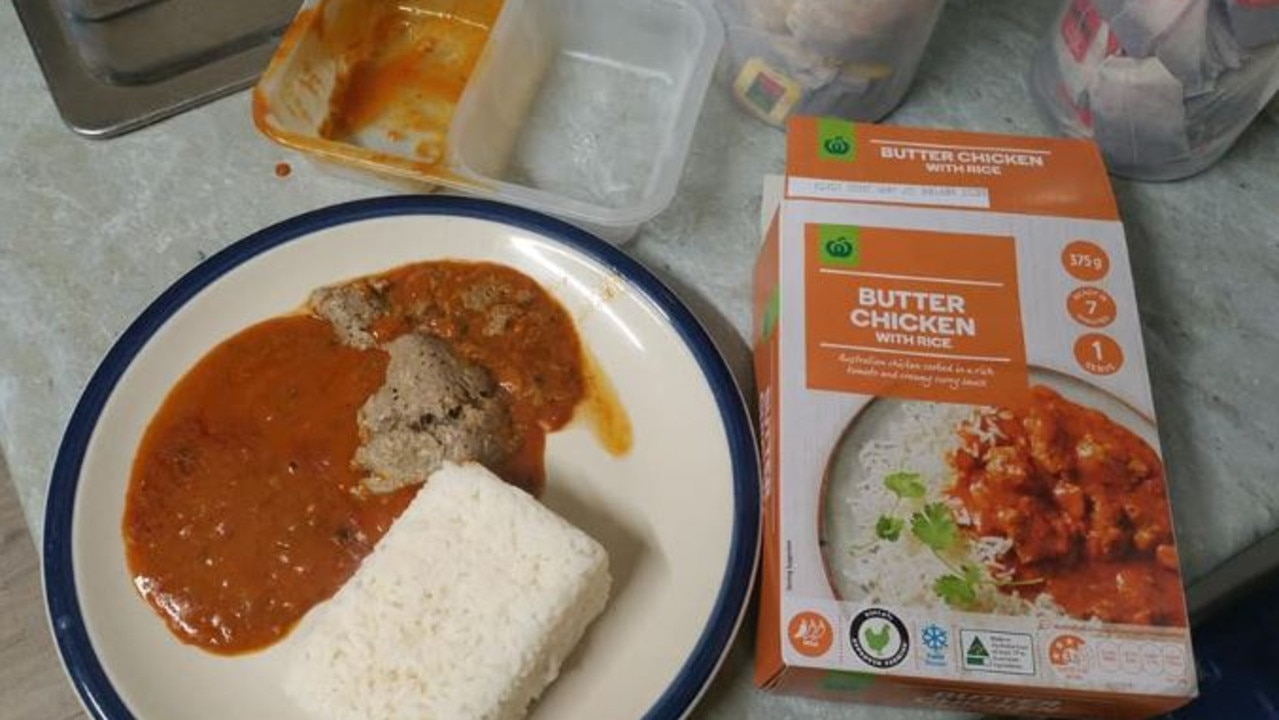 A shopper took to Facebook to reveal grey meat matter in his pre-made Woolworths Butter Chicken with Rice meal. Picture: Facebook