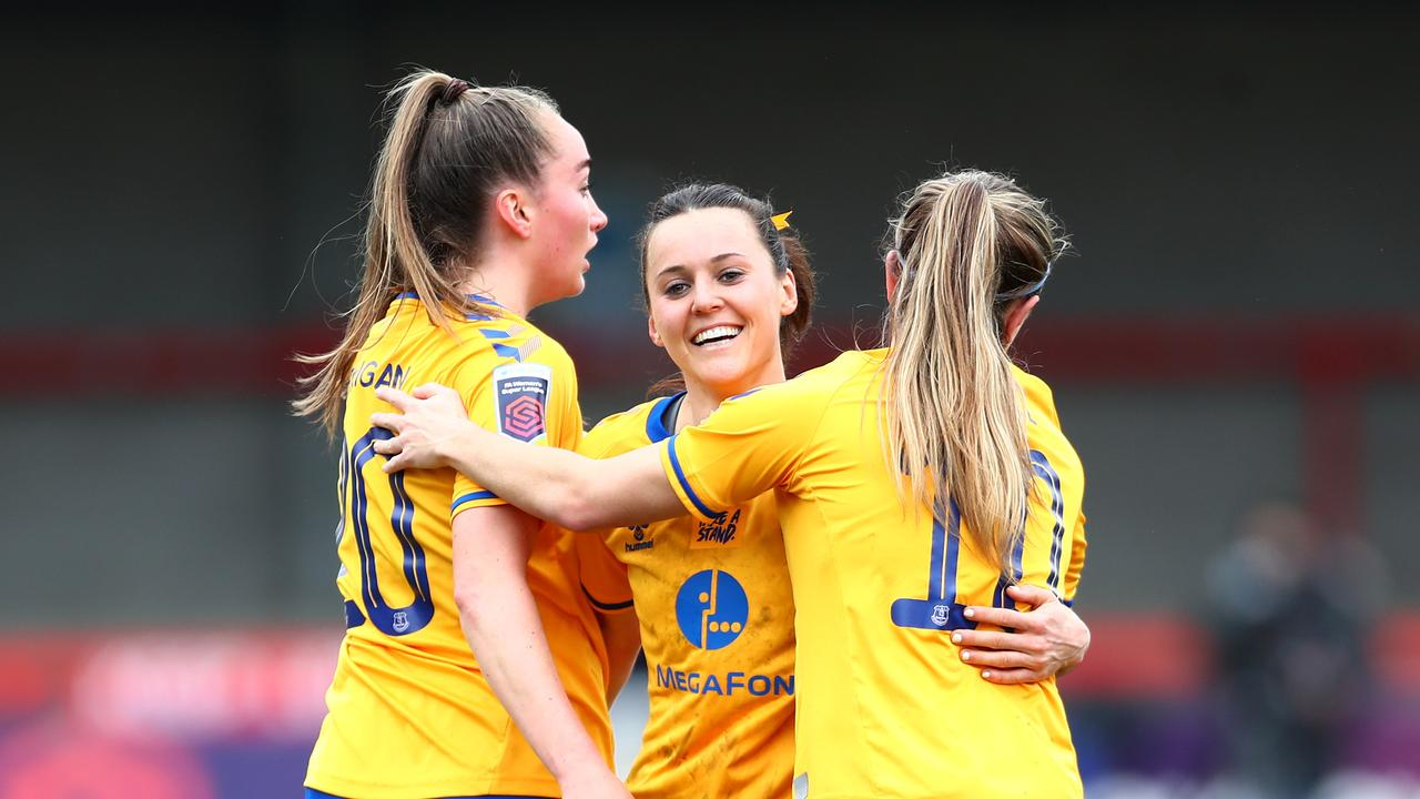 Matildas star Hayley Raso hit a first-ever hat-trick in a big Everton win, while Sam Kerr also was in the goals.