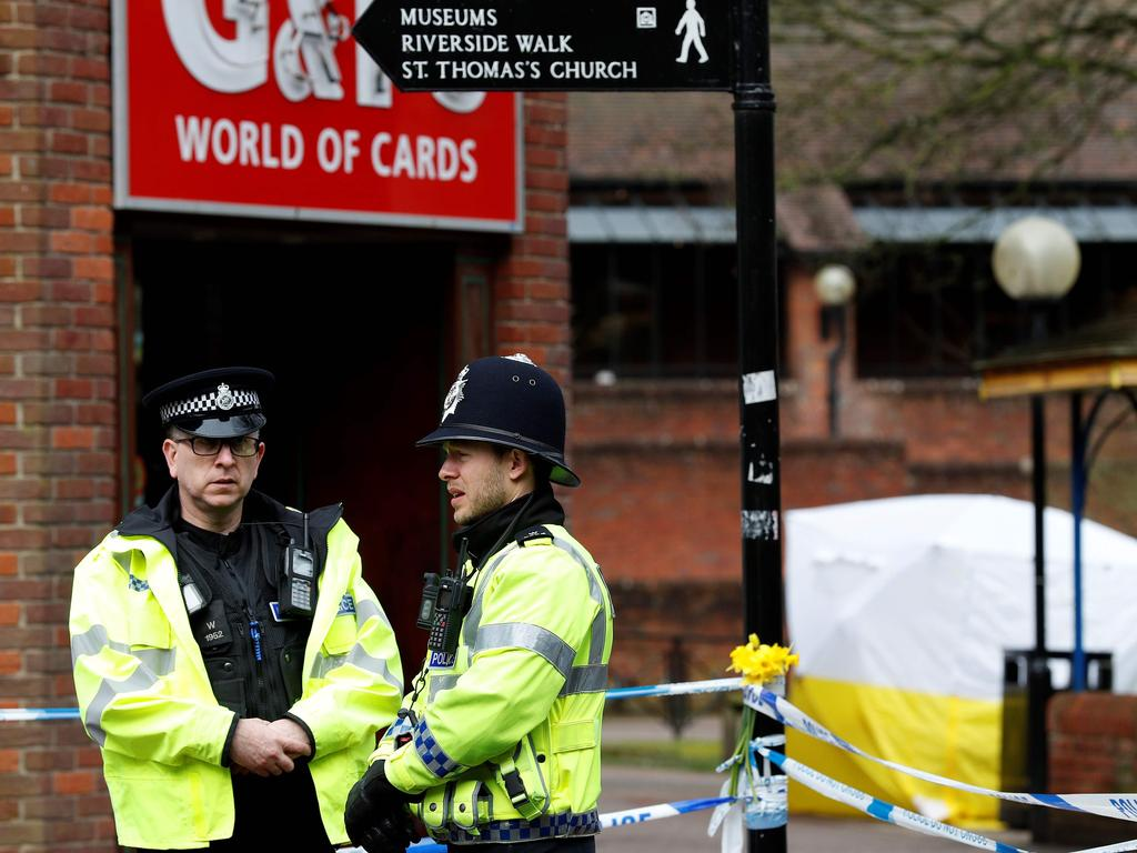 Police at the scene of a nerve agent attack in the British town of Salisbury last March. Picture: AFP