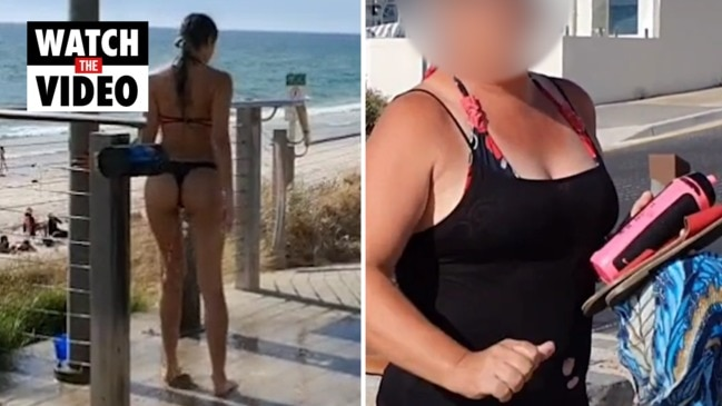 Woman questioned over her choice of a G-string at a family beach