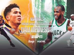 NBA FINALS ON KAYO AND FOXTEL (L-R Chris Paul, Devin Booker, Khris Middleton & Jrue Holiday)