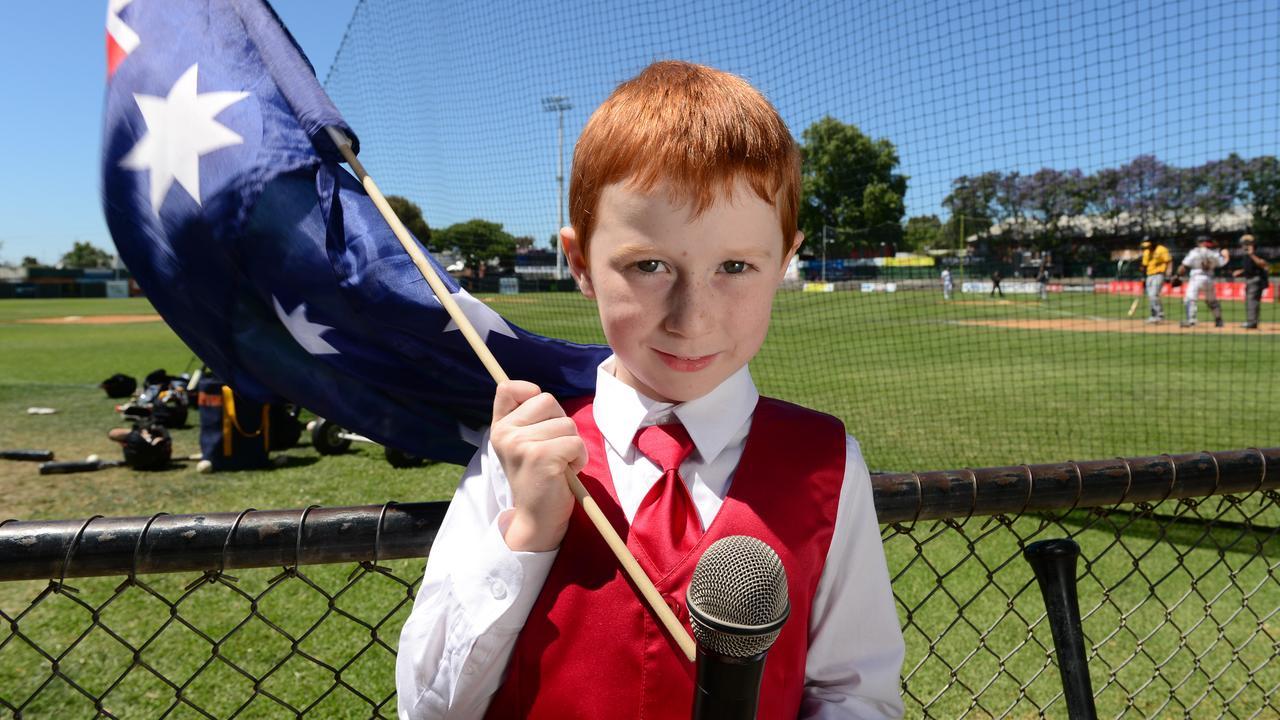 Hiccuping kid sings anthem at baseball game