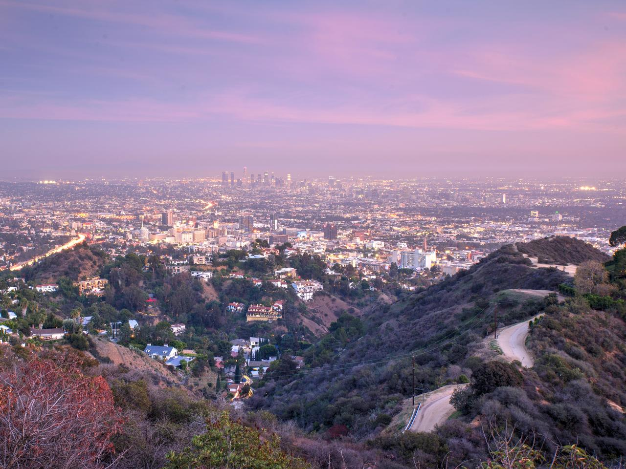 Aerial view of Los Angeles from Runyon Canyon park.