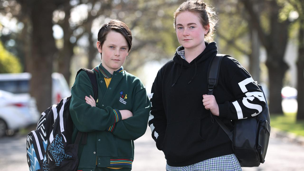 Students Flynn, 12, and sister Zali, 15, are upset at the being locked down again. Picture: David Caird
