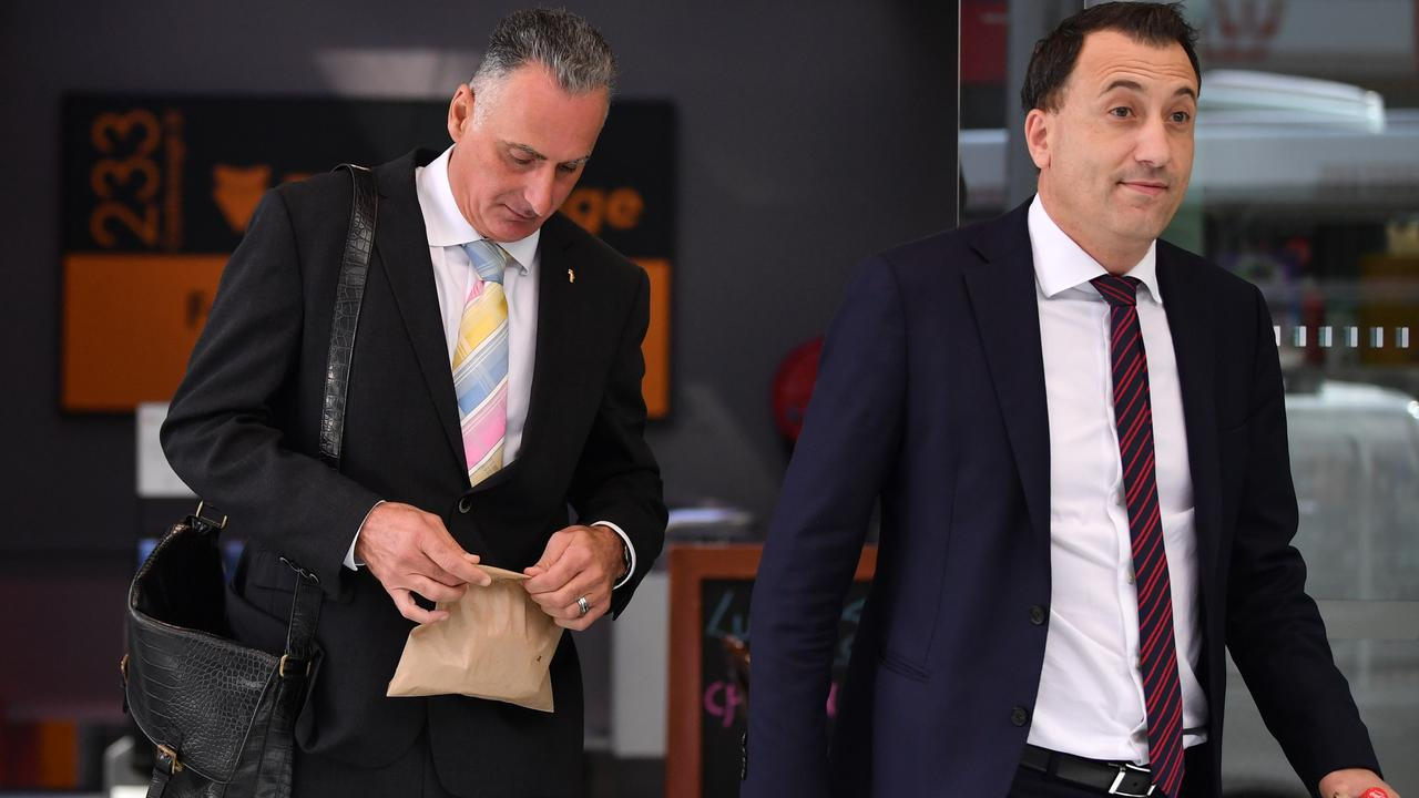 Independent Commission Against Corruption chief commissioner Peter Hall said Mr Sidoti (left) was 'obfuscating' and making speeches instead of directly answering questions. Picture: NCA NewsWire/Joel Carrett
