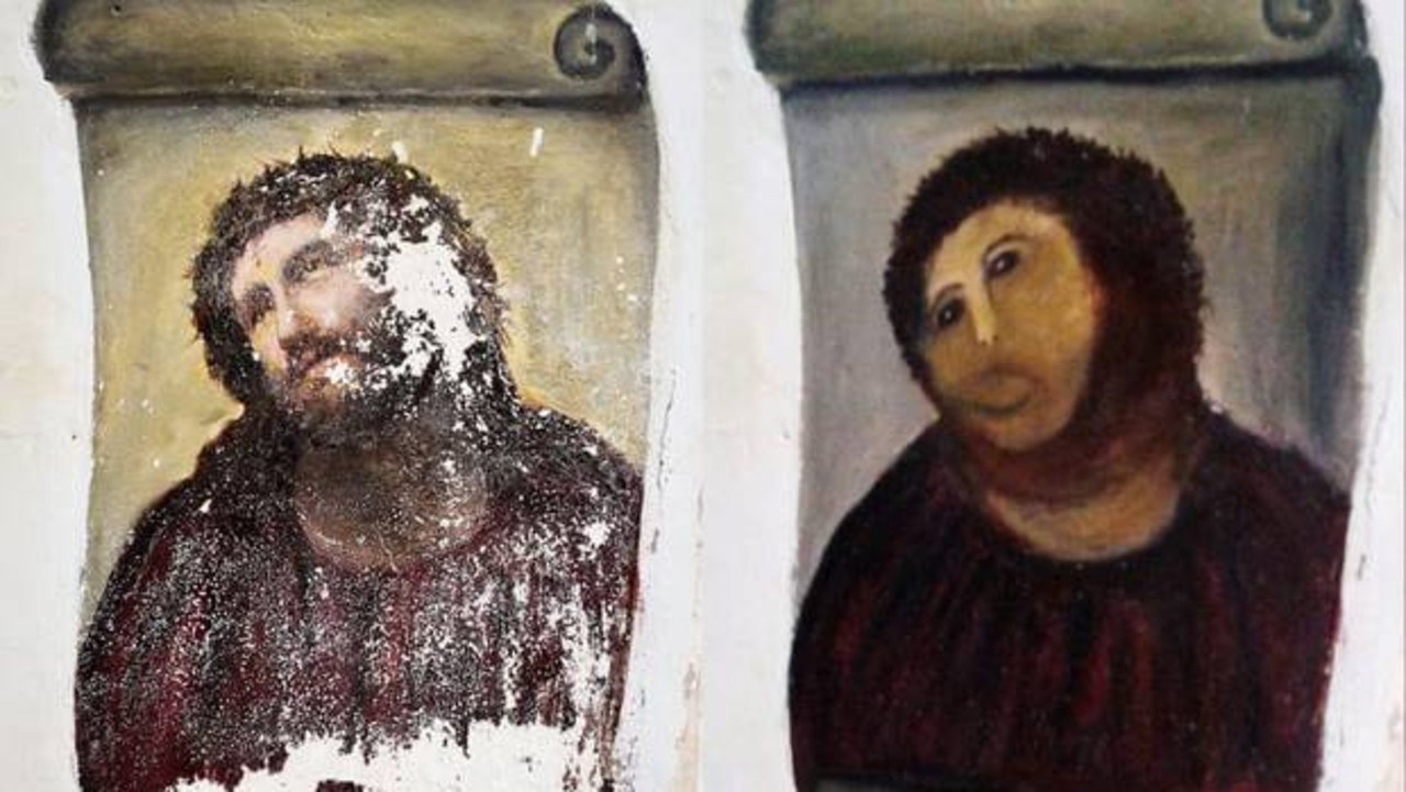 Elias Garcia Martinez's painting Ecce Homo was butchered by amateurs in 2012.