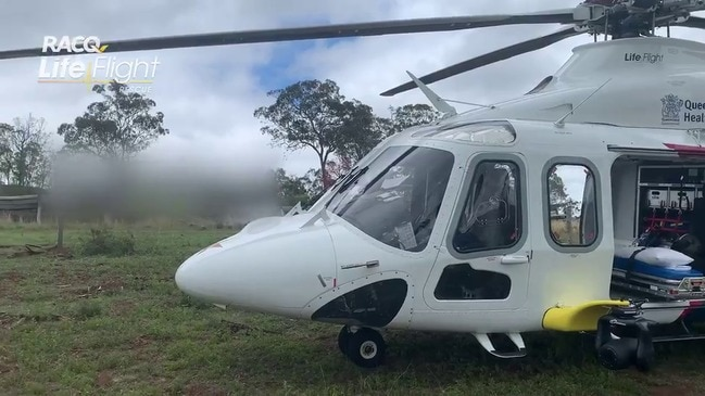 RACQ LifeFlight Rescue airlifts man injured in fall from windmill