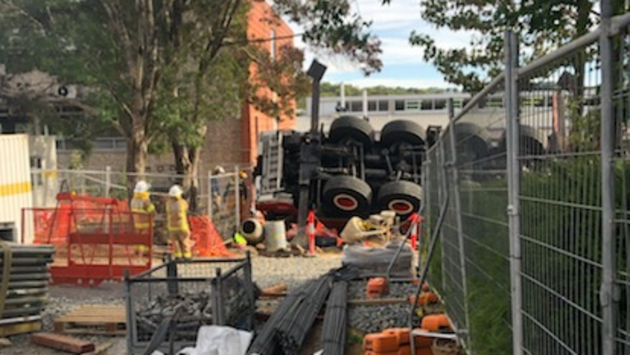 Staff and students of the school escaped injury after a crane fell onsite. Picture: ABC Adelaide