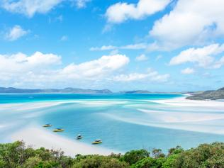 Whitehaven Beach is stretch along Whitsunday Island, Australia.