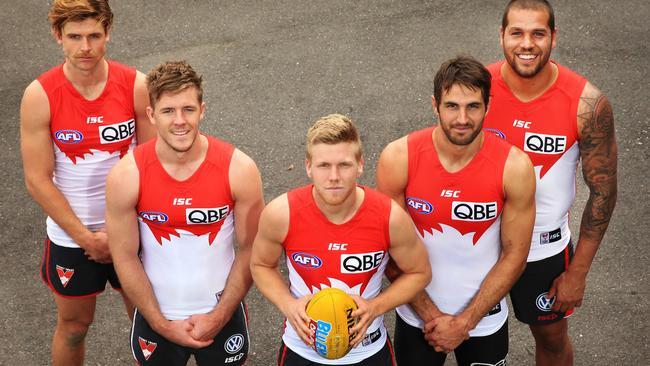 Sydney's All-Australians (from left) Dane Rampe, Luke Parker, Dan Hannebery, Josh Kennedy and Lance Franklin. Picture: Mark Evans