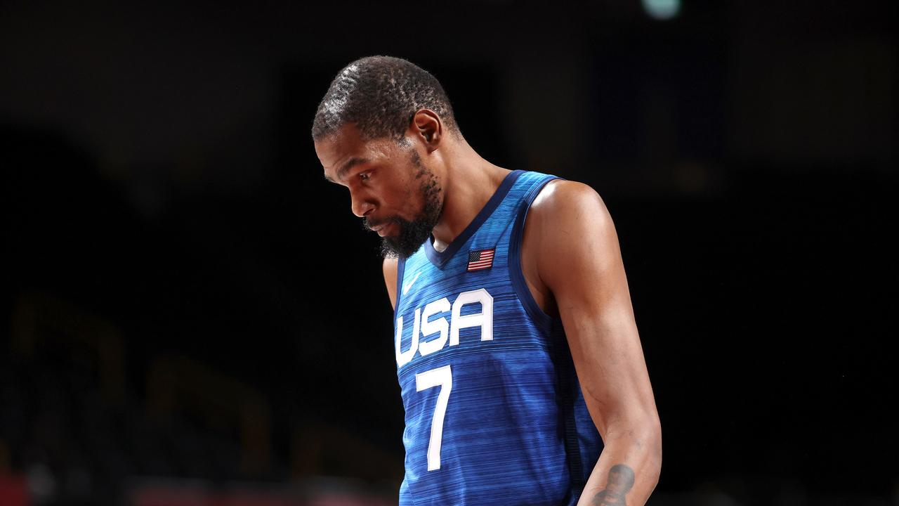 SAITAMA, JAPAN - JULY 25: Kevin Durant #7 of Team United States walks off the court with his head down after the United States lost to France in the Men's Preliminary Round Group B game on day two of the Tokyo 2020 Olympic Games at Saitama Super Arena on July 25, 2021 in Saitama, Japan. (Photo by Gregory Shamus/Getty Images)