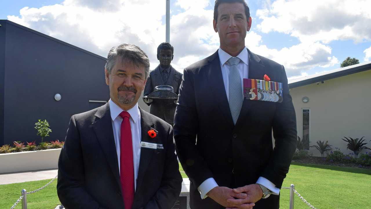 Army hero Ben Roberts (right) at Victory College. Picture: Philippe Coquerand