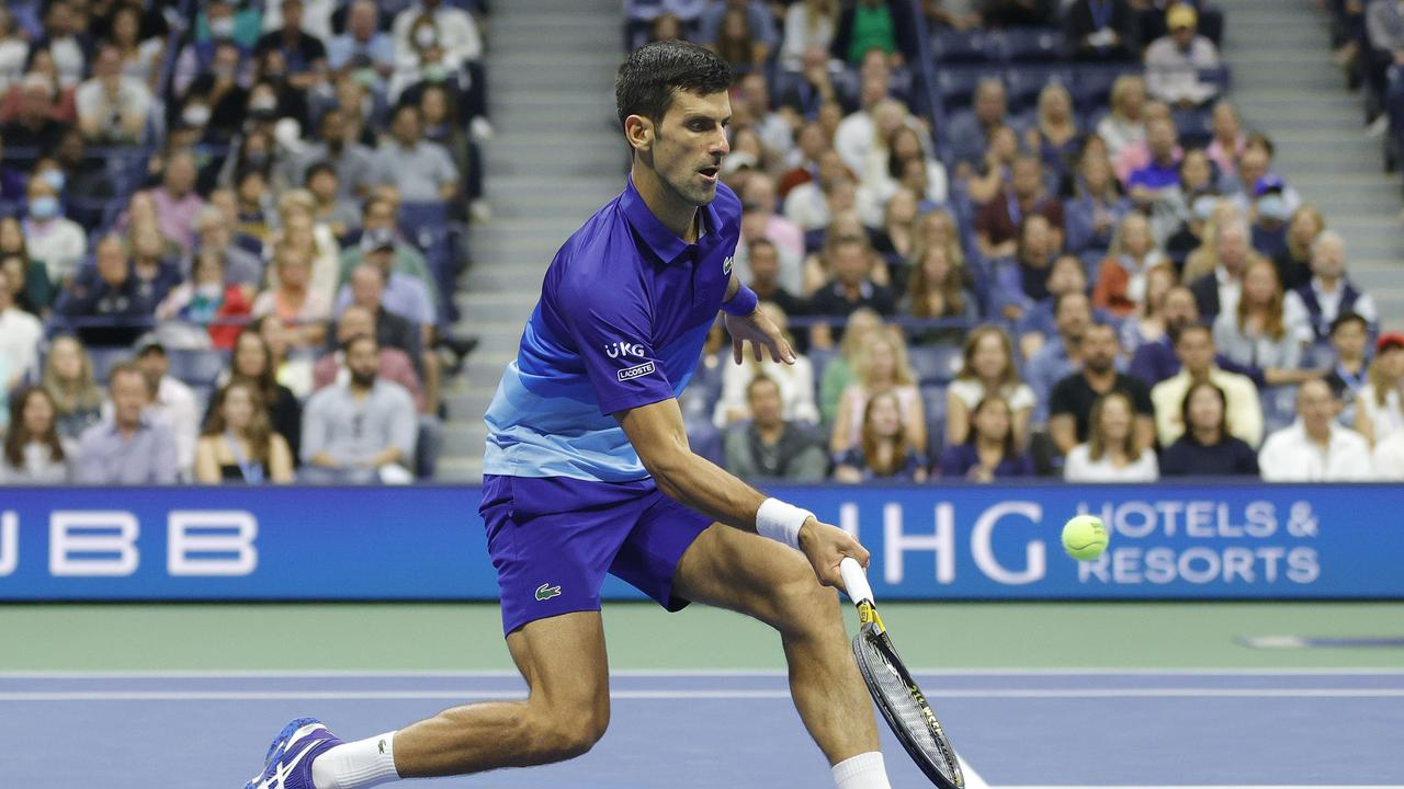 Novak Djokovic in action in the semi-final against Alexander Zverev at the Billie Jean King National Tennis Center on September 10, 2021 in the Flushing neighbourhood of the Queens borough of New York City. Photo: Getty Images