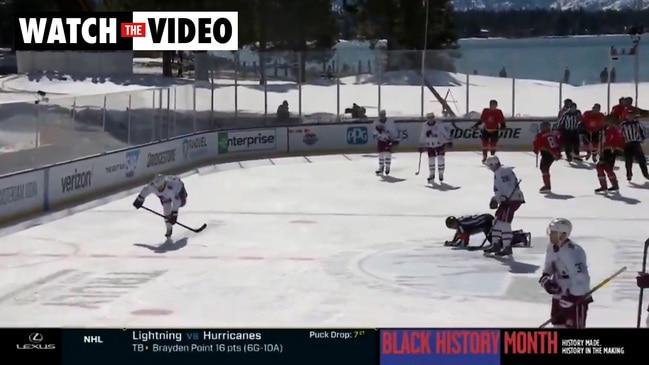 Players and officials slip over on melted ice in NHL match (NBC)