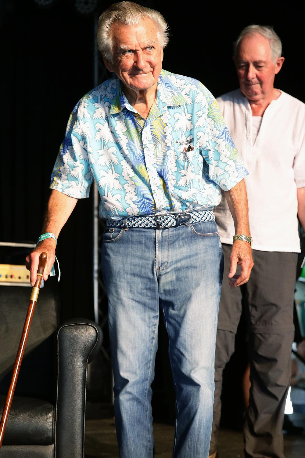 Former prime minister Bob Hawke at the Woodford Folk Festival. Picture: Claudia Baxter/AAP