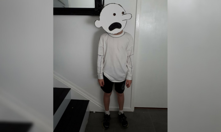 <b>GREG HEFFLEY.</b> This was a huge hit last year, but given all books are treasures, it fits in with the theme for this year too! Here's 10-year-old Jasper as Greg Heffley from  <i>Diary of a Wimpy Kid</i>.  <p><i>Image: supplied.</i></p>