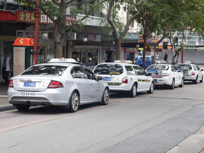 Taxis on Hercules St, Ashfield. Picture: Craig Wilson