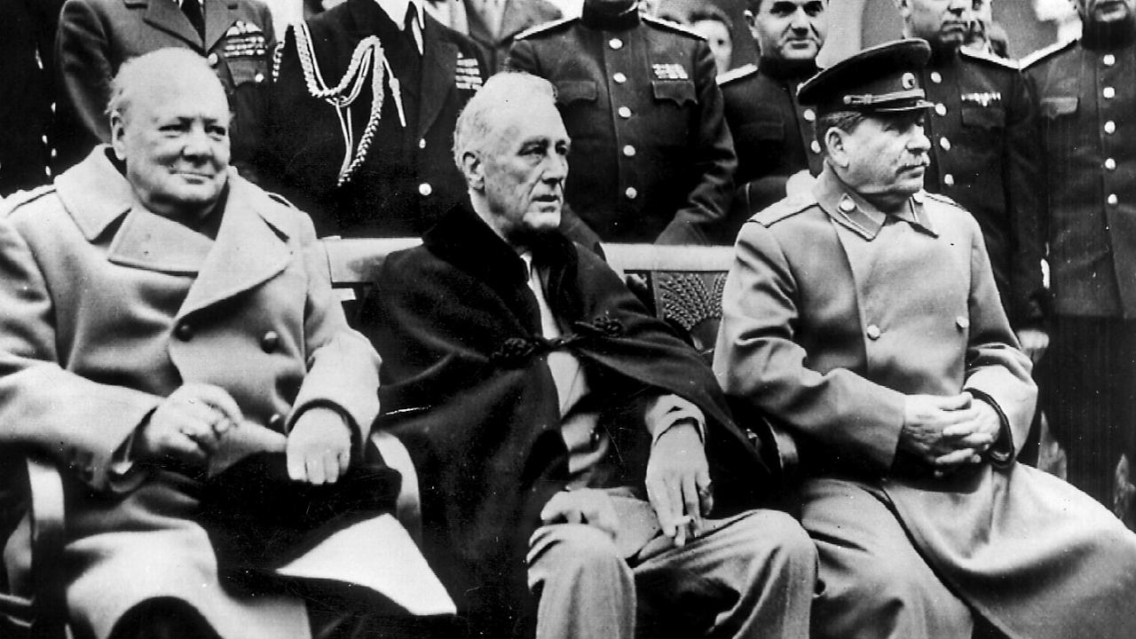 President Roosevelt (centre) with British PM Winston Churchill and Russian leader Joseph Stalin in 1944 He died two months later from a stroke.
