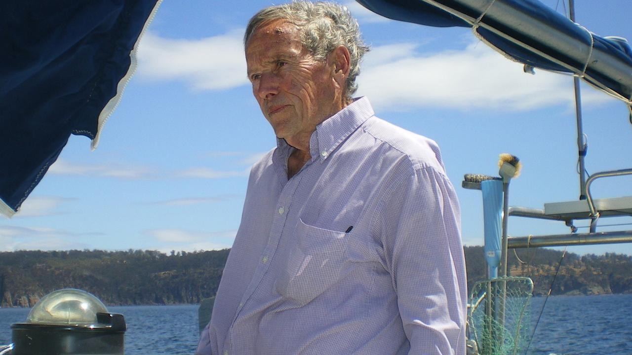Bob Chappell sailing <i>The Four Winds</i> in January, 2009.