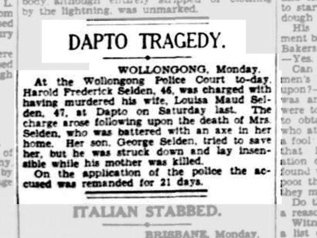An old newspaper clipping describes the tragedy.
