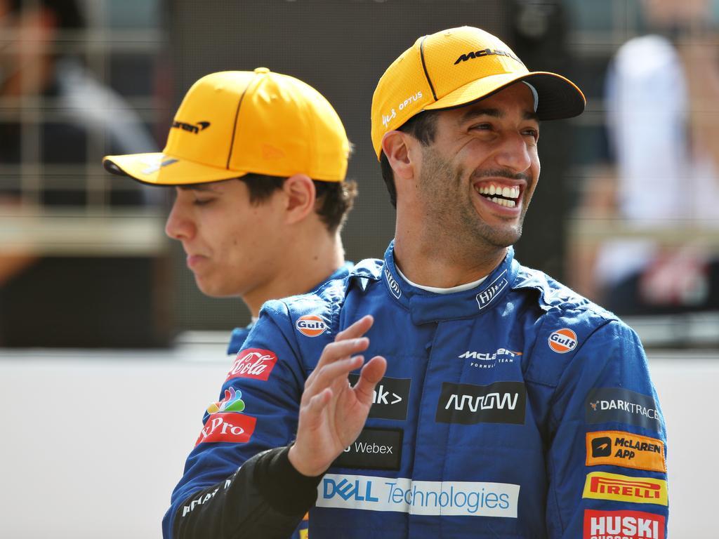 Daniel Ricciardo of Australia and Lando Norris of Great Britain.