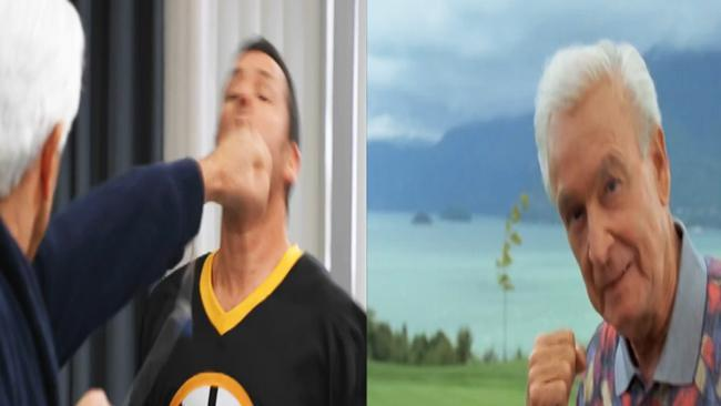 Bob Barker and Adam Sandler re-create classic Happy Gilmore fight scene