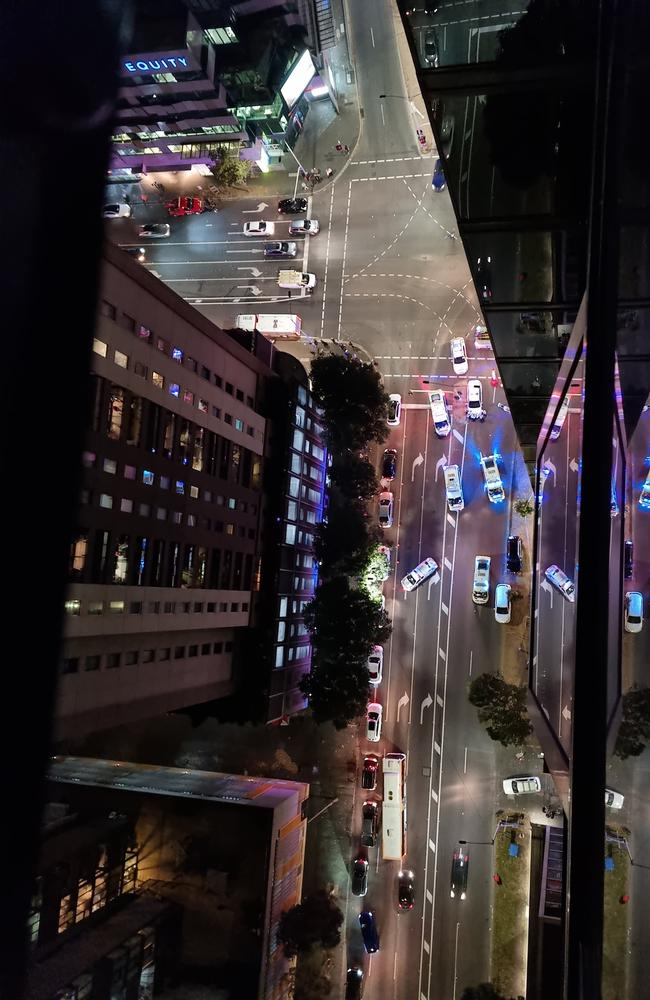 The scene from an apartment 34 floors up on the corner of City Road and Power Street. Picture: Bronwyn Cook