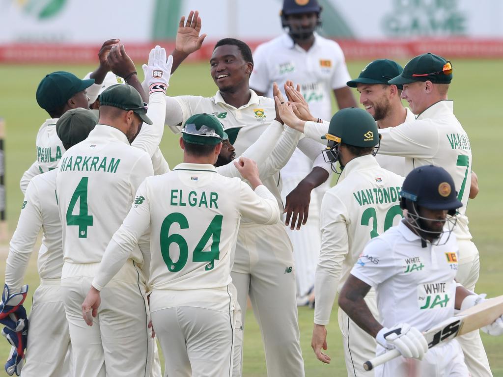 Lungi Ngidi of the Proteas celebrates the wicket of Kusal Mendis.