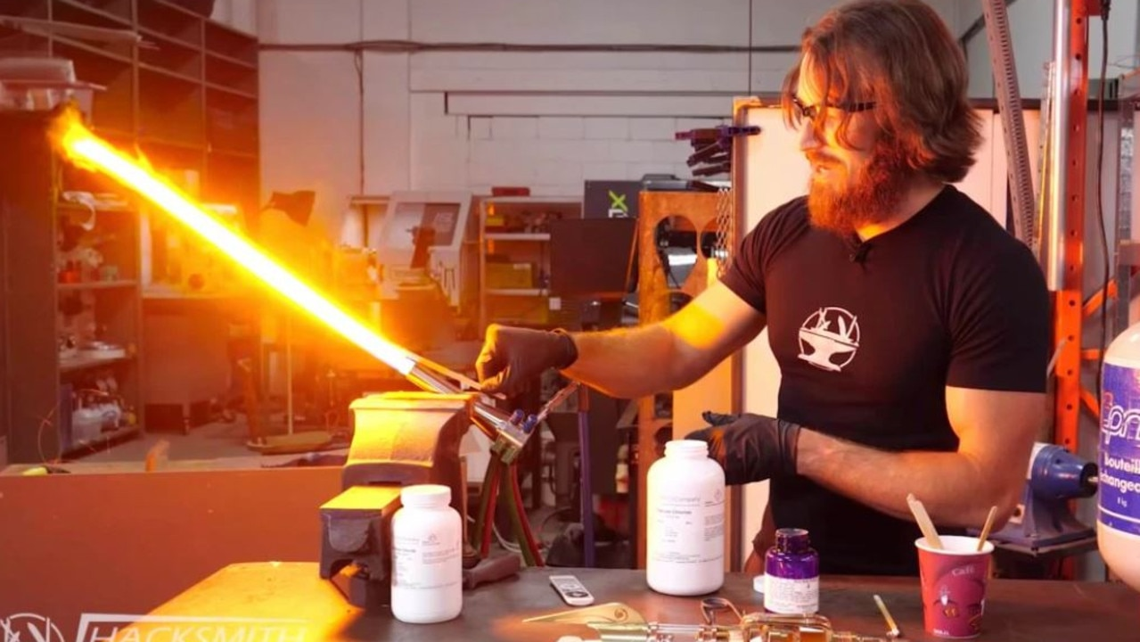 The YouTuber's creation can slice steel. Picture: The Hacksmith/YouTube