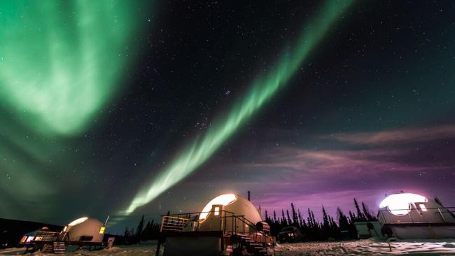 2/13Borealis Basecamp, Alaska A short drive from Fairbanks, this preserve is designed for viewing the northern lights without leaving your cabin. Each of the tents features a transparent panel 16 feet across.