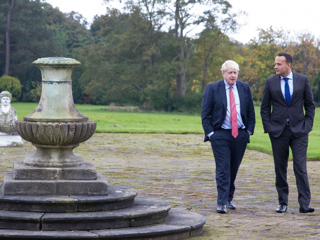 British Prime Minister Boris Johnson (L) walks with Ireland's Irish Prime Minister Leo Varadkar. Picture: Getty