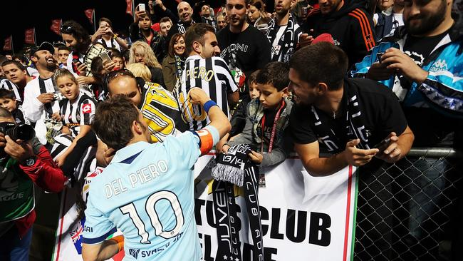 Del Piero attracted crowds wherever he played in Australia.