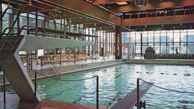 By 1972, Grossinger's Catskill Resort Hotel — set on 1,000 acres in Liberty, NY — was visited by more than 150,000 guests each year. The gigantic indoor pool, once dappled with light, is now home to overgrown vegetation that's thriving perhaps due to the terrarium-like windowed setting.