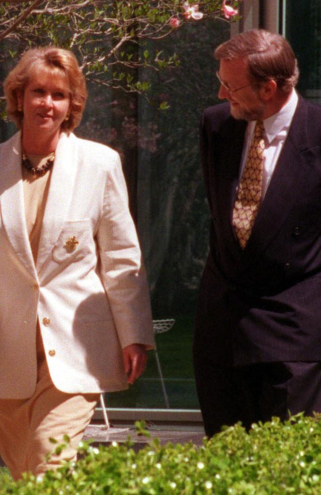 Senatorial affair: Cheryl Kernot with Gareth Evans in 1997 when she defected from the Democrats to Labor. Picture: Graham Tidy.