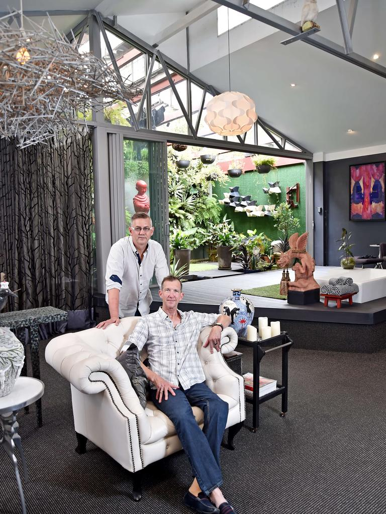Artist Grant Maxwell and partner Graham Sachse in their converted factory residence at St Peters. They bought it when it was operating as a jam factory and have renovated it. (AAP IMAGE / Troy Snook)
