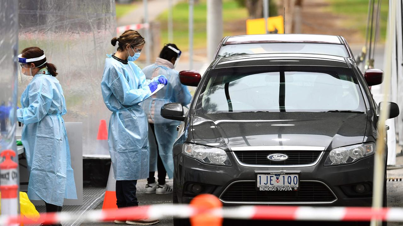 """Health officials announced they were launching a new testing blitz in three major regional towns – Ballarat, Geelong and Bendigo – amid """"worrying trends"""" indicating the virus could be spreading among residents. Picture: William West/AFP."""