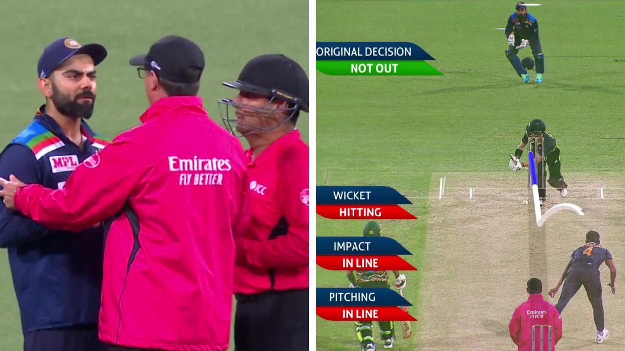 Virat Kohli's call for a review was rejected by the third umpire.