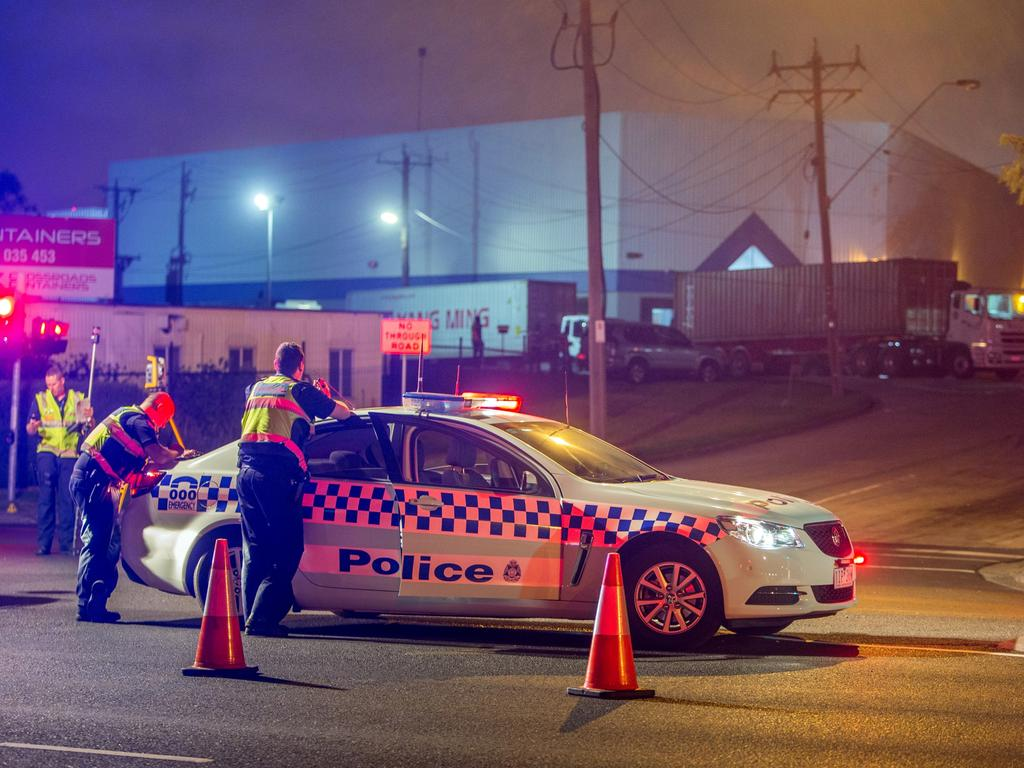 Police at the scene of the fatal crash on the corner of Whitehall St and Somerville Rd. Picture: Gary Sissons.