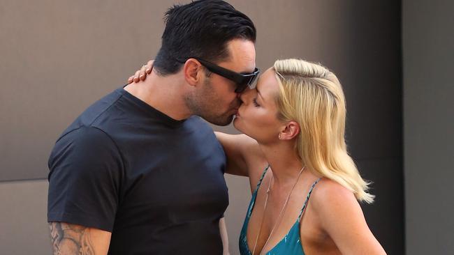 Sophie Monk gets intimate with ex-NRL star boyfriend Eric Grothe Jr. CREDIT: Diimex